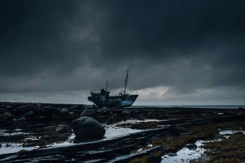 ship, landscape, darkness, shipphoto preview