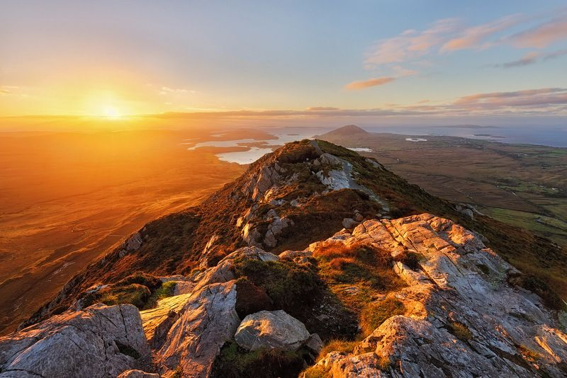 ireland, connemara, galway, sunset, iconic, mountains. color, red, national park, ocean, horizont, view, landscape Diamond Hillphoto preview