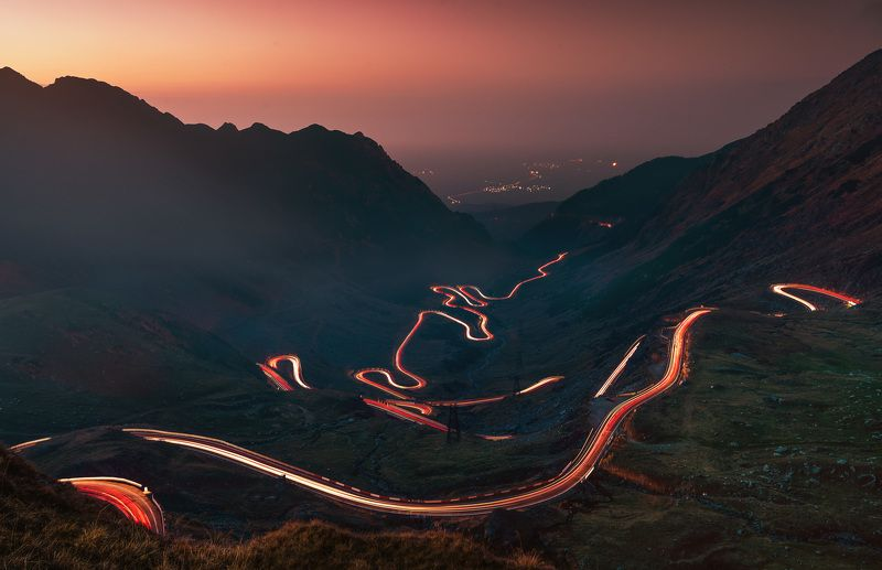 road, car trails, light, sunset, mountain, beautiful, landscape Transfagarasan roadphoto preview