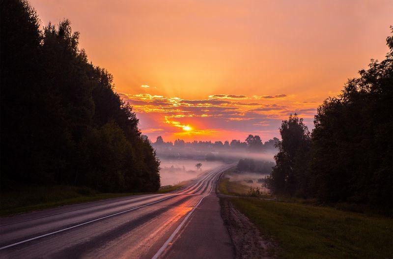 туман, россия, иваново, Лежнево, солнце, свет Дорожный туманphoto preview