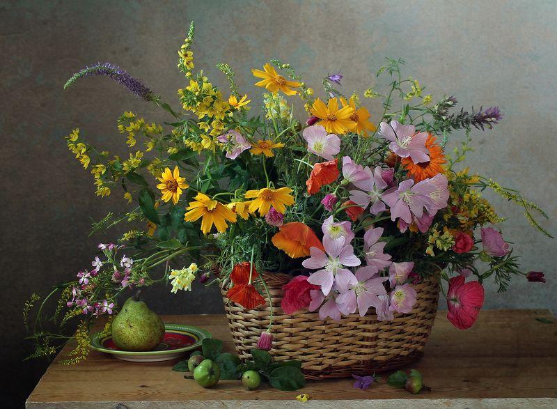букет цветов в корзине, лето, натюрморт, марина филатова Прелесть тихой простоты...photo preview