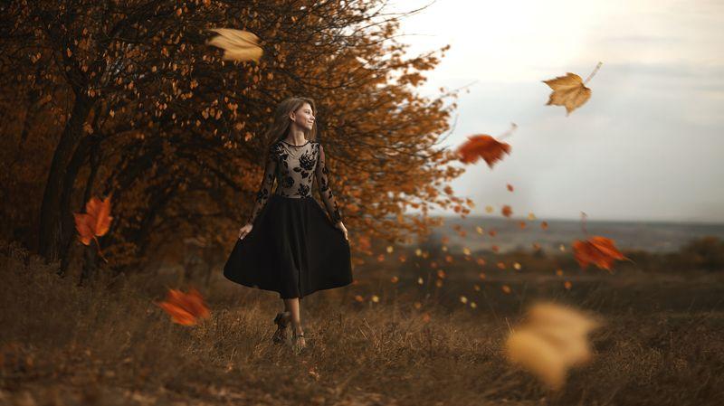 Краски осени, художественный портрет, портрет девушки, детский портрет, осень, листья, лес, жанр, художественная обработка Ветер переменphoto preview