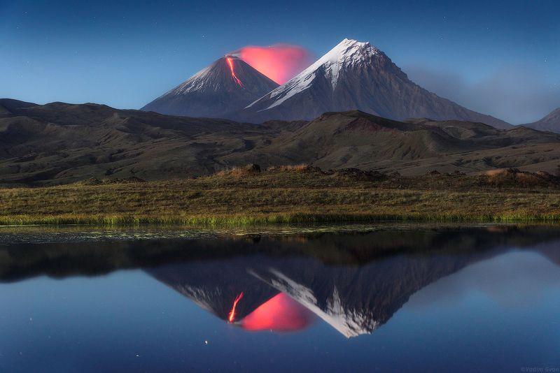 камчатка, ключевская, ключевскаясопка, извержение Теплый огонь Ключевскойphoto preview