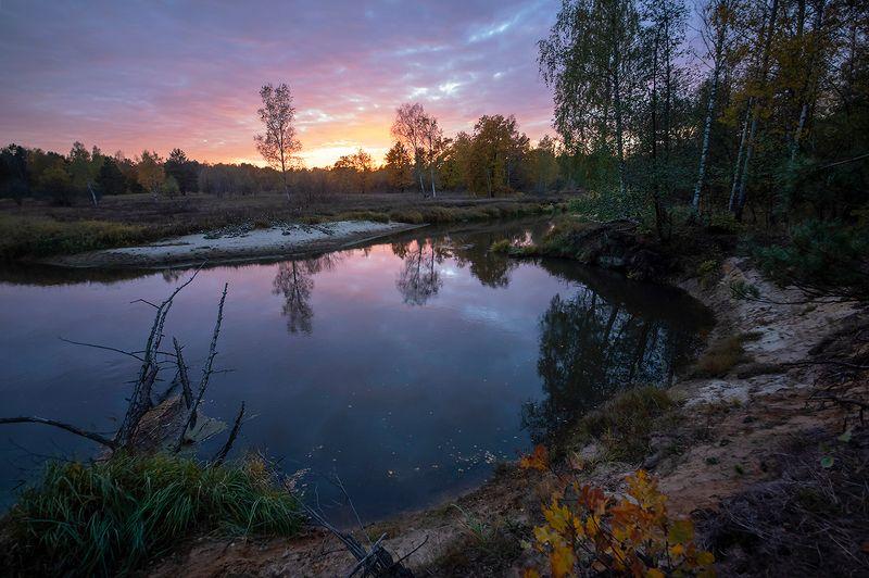 вечер, лесная река, закат, высокий берег, обрыв, мещёра, рязанская область Красочный вечер ...photo preview