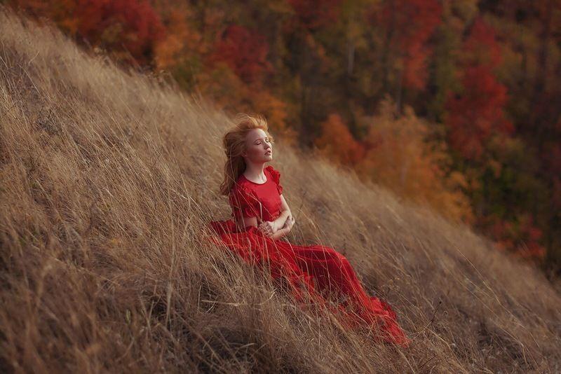 осень, девушка, рыжая, красавица, портрет, атмосфера, природа, цвет, контраст Девушка-осеньphoto preview