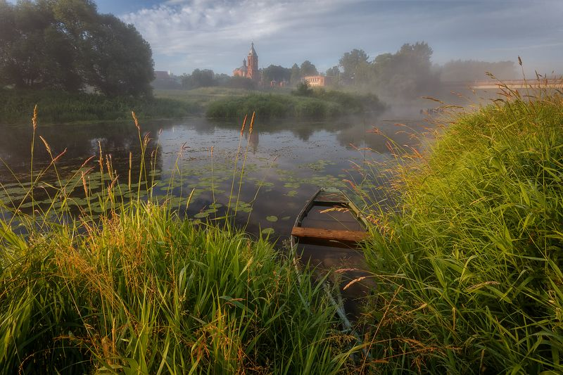 рассвет, пейзаж, утро, туман, река Классический мотив из Дунилово.photo preview