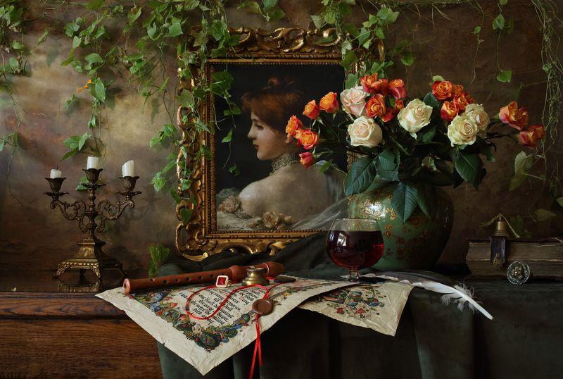картина, девушка, цветы, свет, розы, музыка, натюрморт Натюрморт с цветами и картинойphoto preview