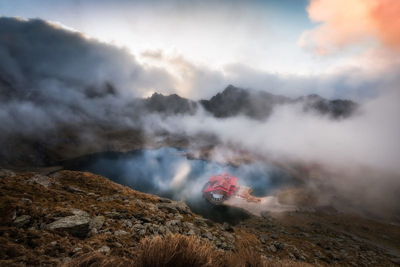 sunset, mountain, lake, light, beauty, nature, landscape, outdoor, clouds,hut Misty mountainphoto preview