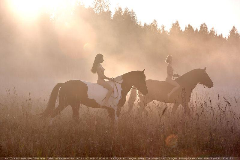 михаилсеменов, портрет, верхом, девушка, милая, модель, лошадь, туман, утро, рассвет, ню, horse, фотослошадкой, кскэквитерра, canon Утро в деревнеphoto preview