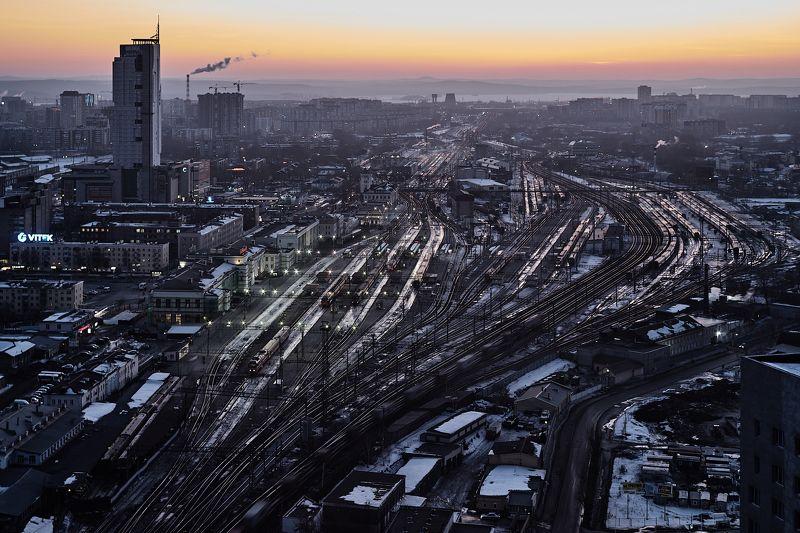 Екатеринбург, закат, жд вокзал, пейзаж, городской пейзаж, Данил Тетёркин,  Екатеринбург на закате.photo preview