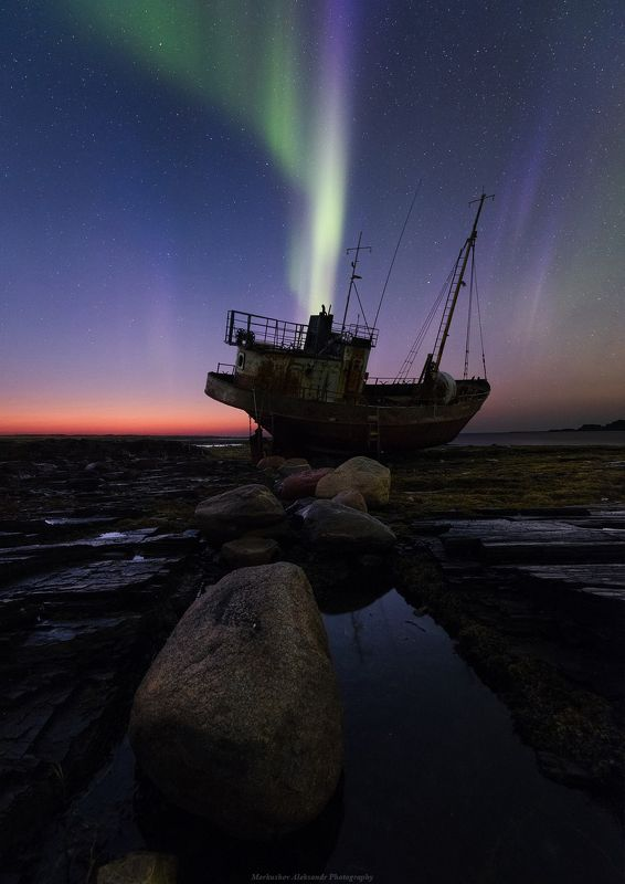 северное сияние, полярное сияние, заполярье, рыбачий, кольский п-ов ***photo preview
