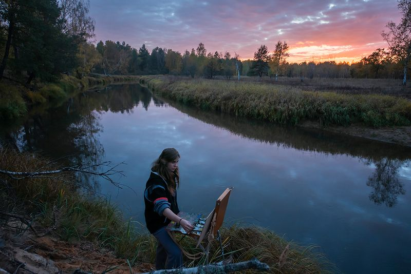 вечер, лесная река, закат, художница, высокий берег, обрыв, мещёра, рязанская область Pro нужное время в нужном месте … ;)photo preview