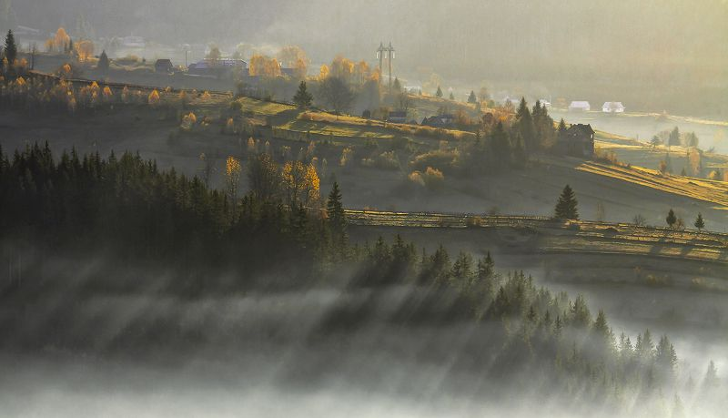 карпаты,осень, туман, утро, горы, солнце Тени осени...photo preview