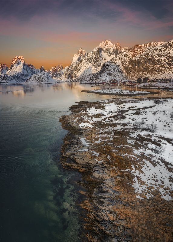 Lofoten, Norway, north, winter, snow, fjord, mountains, morning, water, sea,  Lofoten morningphoto preview
