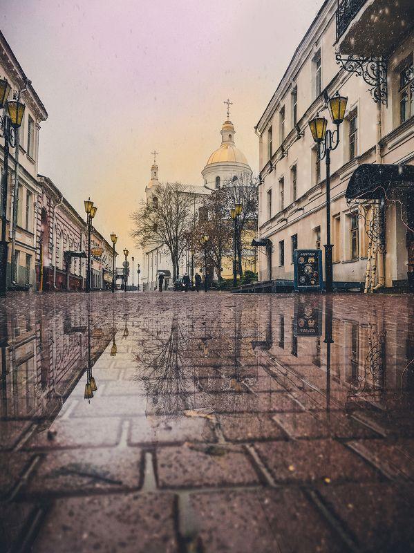 витебск, снег, осень, отражение, помолейко, pomoleyko, vitebsk, церковь, reflection, собор Первый снег. Витебск, 2018photo preview