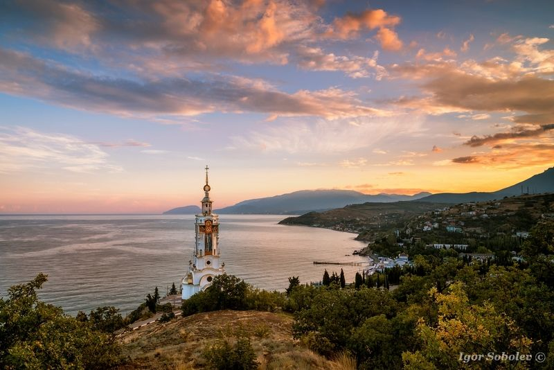крым, храм-маяк, закат, crimea, temple lighthouse, sunset Закат в Малореченскомphoto preview