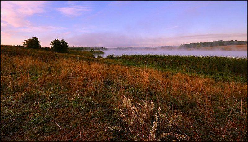 пейзаж, природа утренний туман над озеромphoto preview