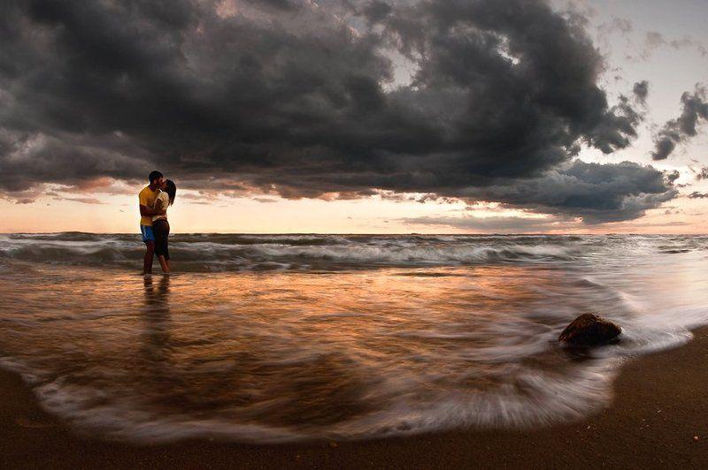море, вечер, поцелуй, пара , двое стихииphoto preview