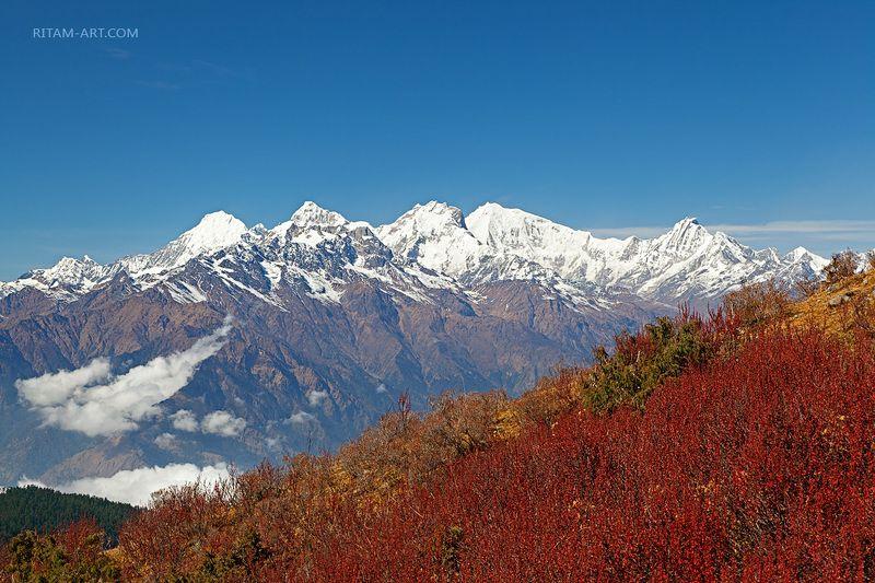 гималаи, гималайский, горы, горный, гора, пики, вершины, снежные, ганеш химал, манаслу химал, непал, лангтанг, растительность, красный, небо, голубой, синий, белый, пейзаж, вид, mountain, snowy, landscape, vegetation, red, himalaya, sky, nepal, langtang,  Красота Гималаев / The Beauty of the Himalayasphoto preview