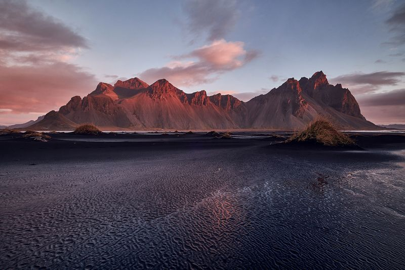 iceberg,iceland,sunset,ice,lake,clouds,mountains, vestrahorn, stoksness Light1photo preview