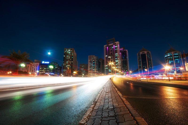 ночь, огни, небоскребы, эмираты Ночные огниphoto preview