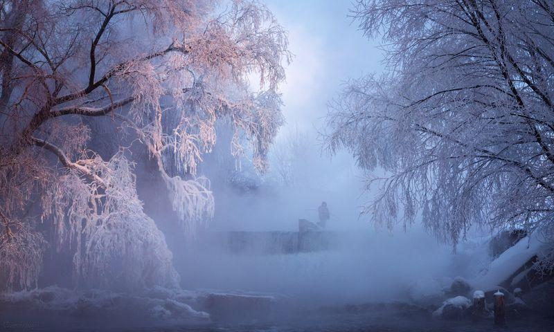 листвянка, река, рыбак, зима, мороз, туман, рязанская область Про Листвянку фото превью