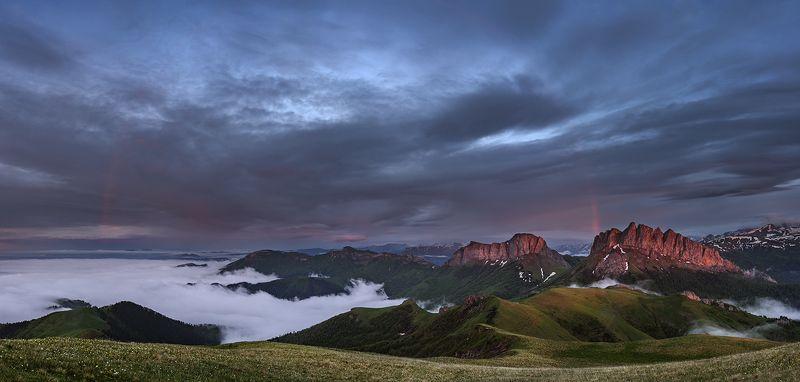 закат, большой тхач, малый тхач, асбестная, горы, пейзаж, рассвет, кавказ, адыгея, радуга, ачешбоки, облака, заповедник, Радуга на закатеphoto preview