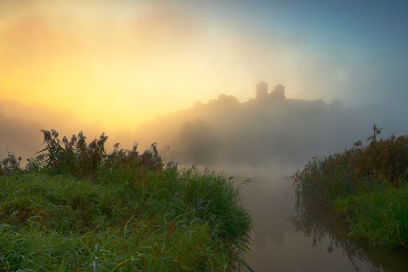 river, mist, morning, sunrise, mood, light, monastery, By the riverphoto preview
