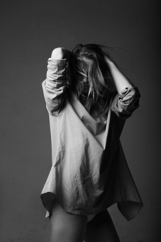 студия, чб, модель, портрет Ксю.photo preview