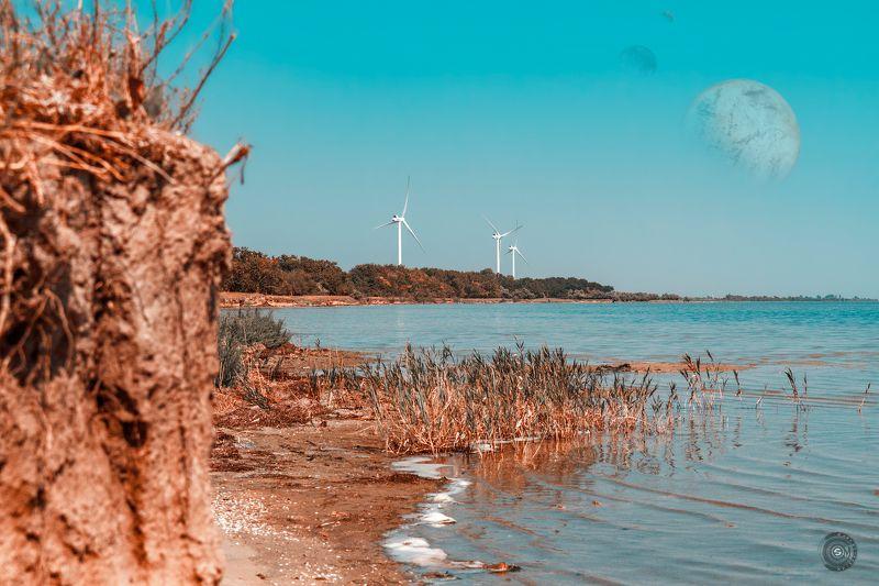 ветряк, море, планета, планеты, берег, скалы, лес, волны Перегон воздушных масс...photo preview