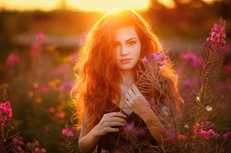 девушка, рыжая, лето, цветы, закат Чайный закатphoto preview