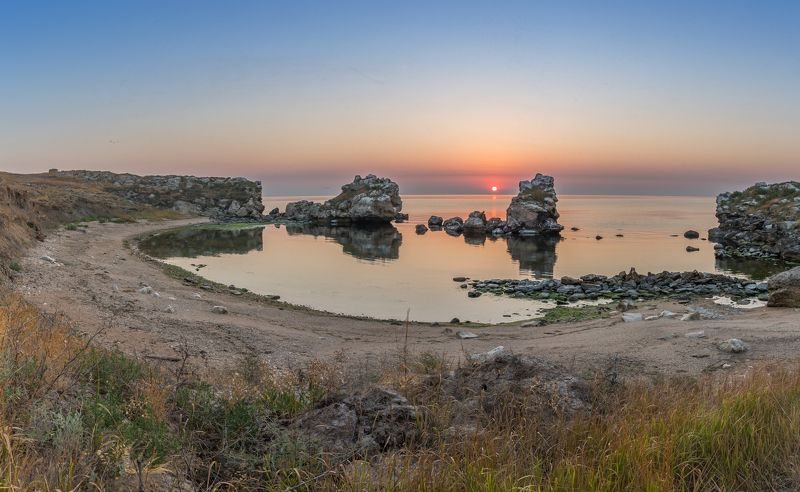 море, утро, крым, бухта, восход Утро в бухте Кирлиутphoto preview