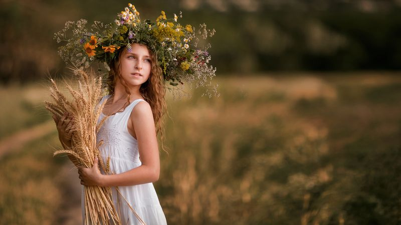 девушка, девушка с колосками в руках, девушка в поле, поле, хлеб, венок, свет photo preview