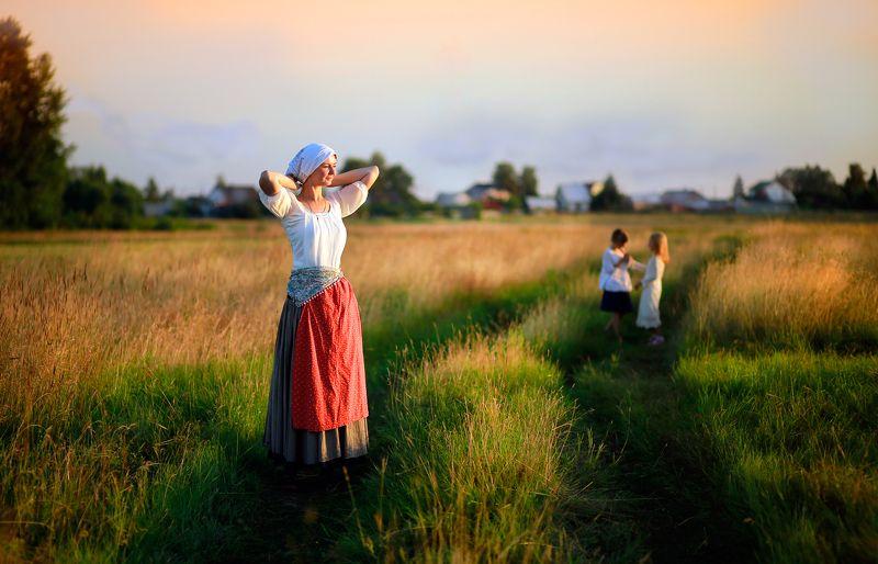 девушка, красивая, красота, портрет, пейзаж, природа, истории из детства, детство, лето, настроение, поле, трава, солнце, дети, сенокос, модель Истории из детства. Мое деревенское летоphoto preview