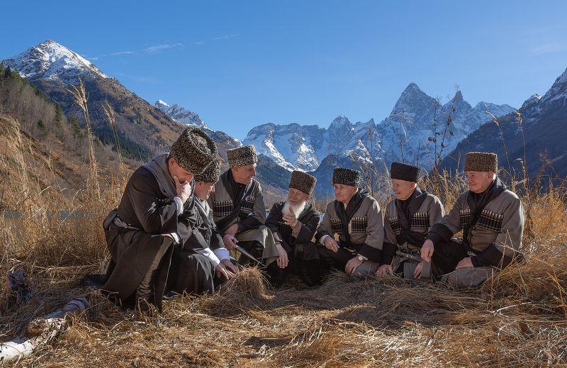 карачаево-черкессия,бесленей Старейшины аула Бесленейphoto preview