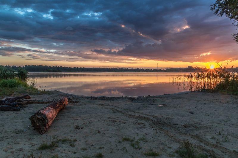 утро, озеро, облака, солнце Восходphoto preview