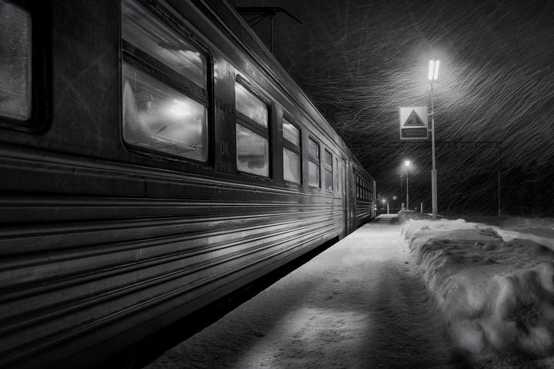 утро,метель,станция,электричка,зима,вагон Метель.photo preview