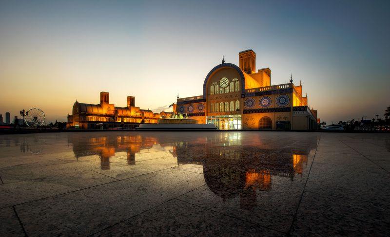 пейзаж, отражение, закат Вечерний рынок Шарджиphoto preview