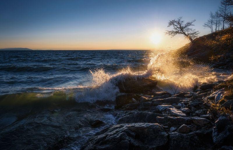 байкал, осень, прибой.. Байкальский прибой...photo preview
