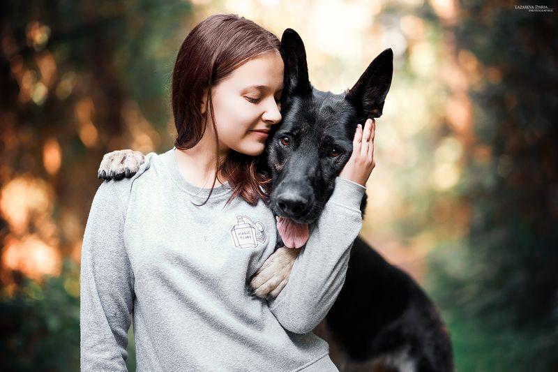 собака, природа, лес, овчарка, девушка Катя и Яшмаphoto preview