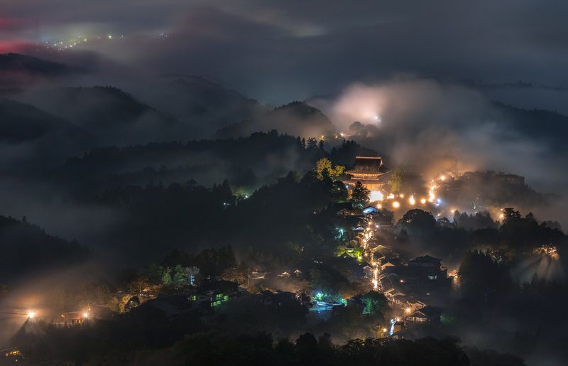 temple low clouds nature nightscape japan   [ Sea of Clouds ]photo preview