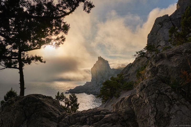 крым,море,туман,облака,пейзаж,закат,осень,горы,скалы,берег,природа, Морской туман на закатеphoto preview