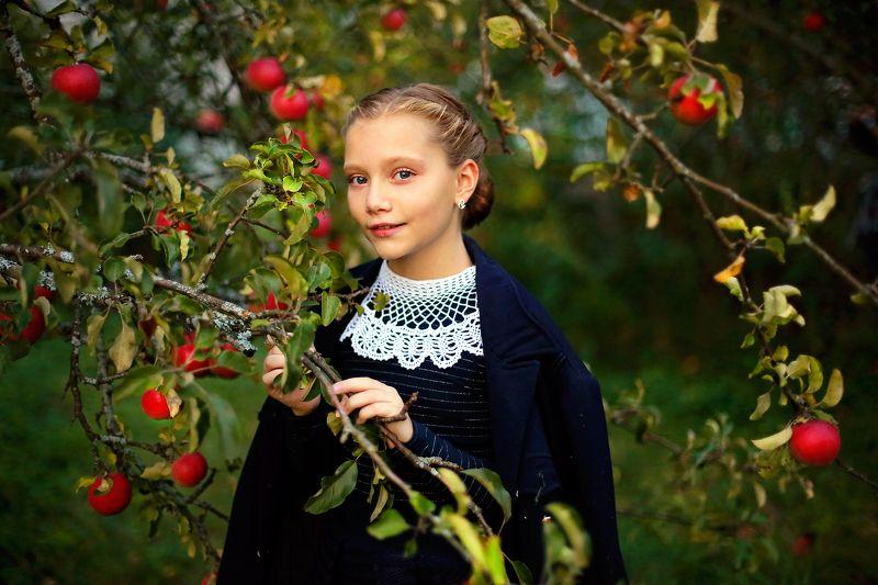 портрет, осень, красота, красивая, девочка, школьница, яблоня, сад, истории из детства, портрет, свет, жанр Истории из детства. Осень в яблоневом саду. photo preview