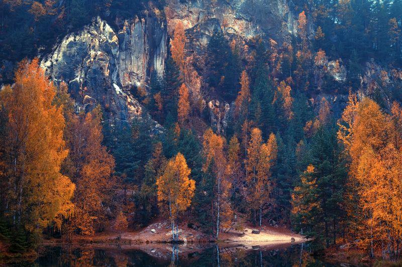 природа лес деревья осень листва утро туман путешествия пейзаж вода водоём озеро чехия скалы горы отражения Осень в горахphoto preview
