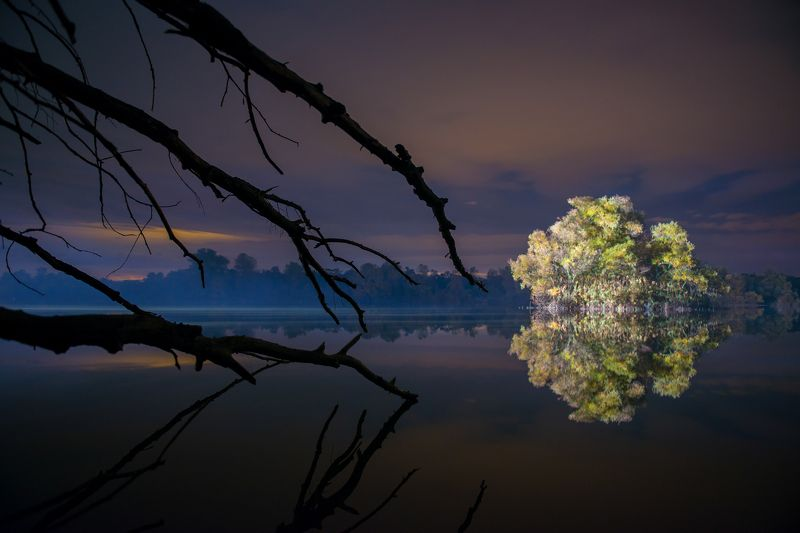озеро, ночь, небо, деревья, вода Озера Кубани.photo preview