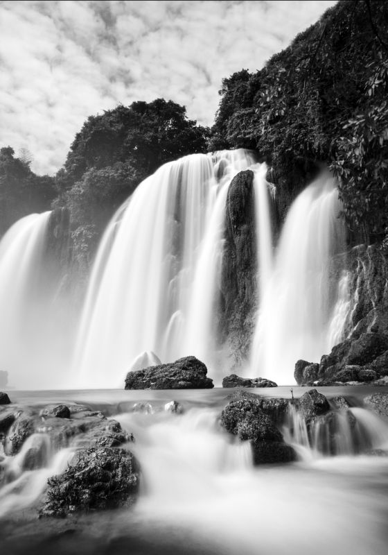 blackandwhite, bangioc, vietnam, landscape, waterfall, fineart, expouse, ngo cuong, ngo cuong photo Ban Gioc Waterfallphoto preview