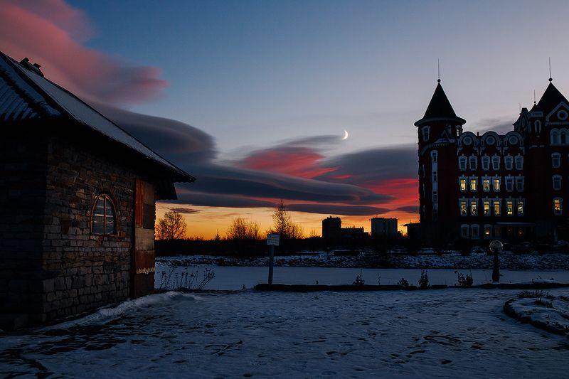 россия, урал, златоуст, вечер, небо, закат photo preview