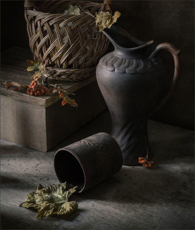 кружка, кувшин, корзина, рябина, натюрморт ***photo preview