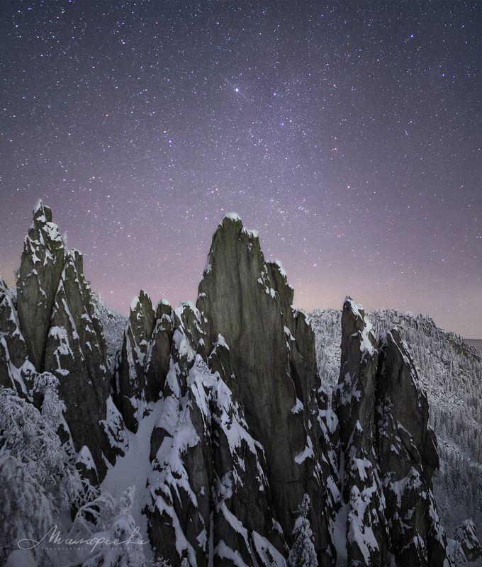 созвездие, ночь, урал, звезды, зима, скалы, таганай Возничийphoto preview