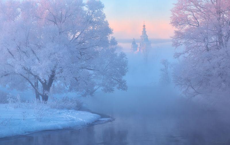 истра, новый иерусалим, рассвет, туман, иней, зима, река, монастырь Зимний миражphoto preview